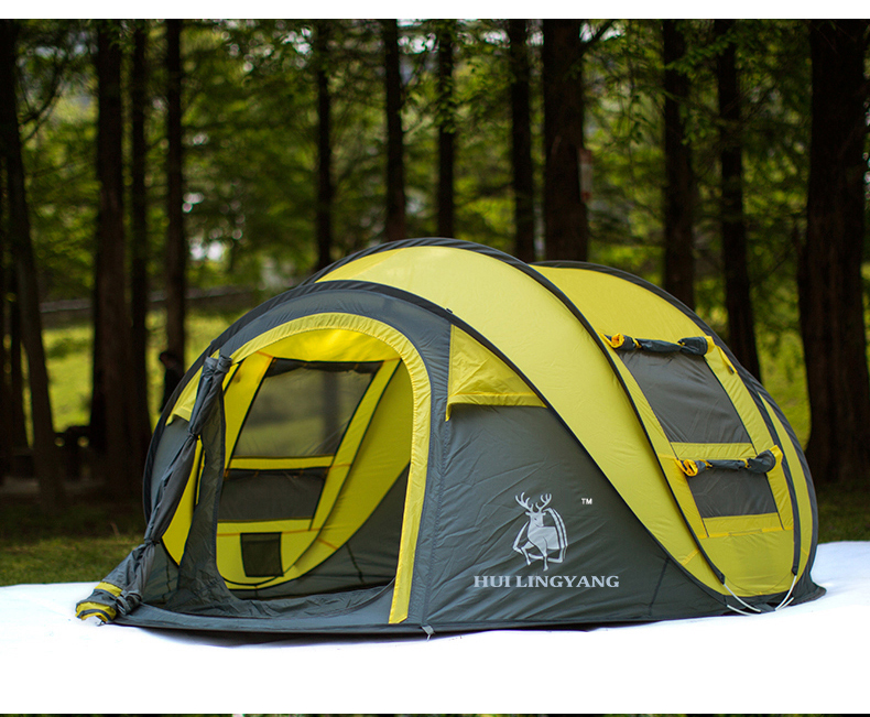 Coins Shopy & Large Throw Tent Outdoor 3-4 Persons Automatic Speed Open Throwing Pop Up Windproof Waterproof Beach Camping Tent Large Space