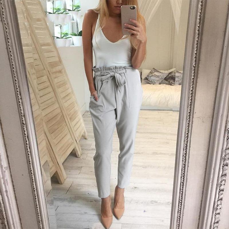 2018 Summer New Solid Chiffon Harem Pants Women Fashion ...