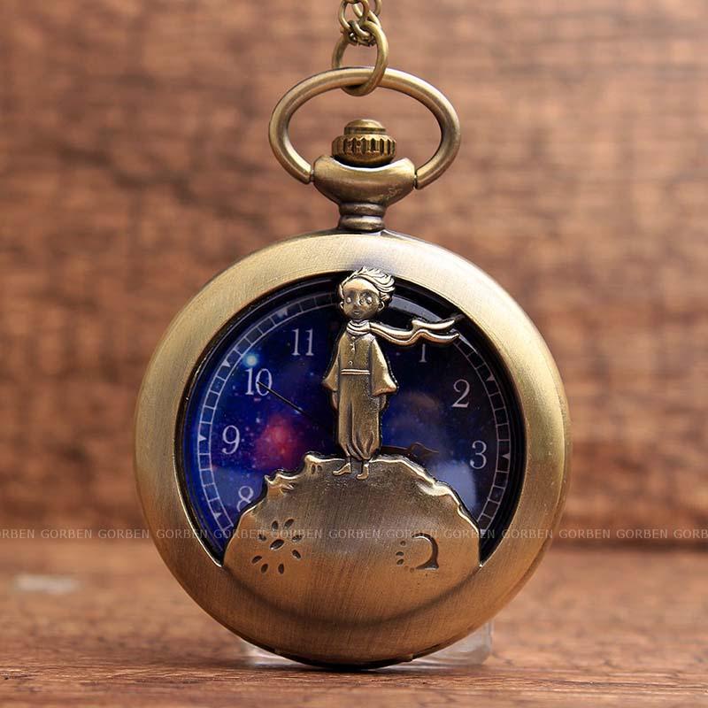 683f13793 Retro Antique Bronze Little Prince Pocket Watch Vintage Fob Quartz ...