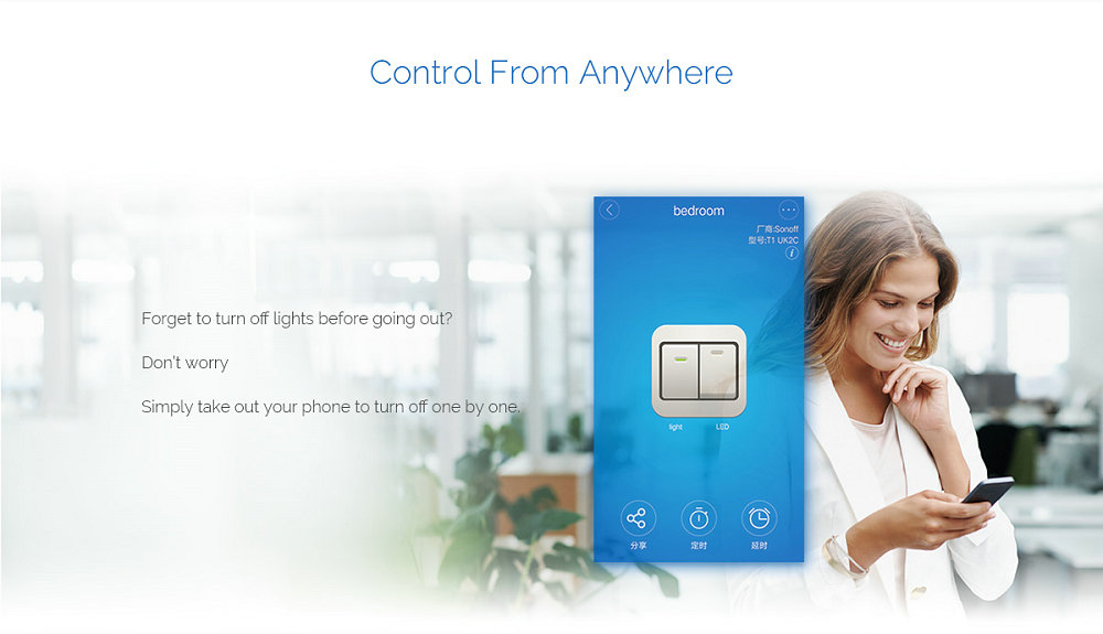 Sonoff T1 Eu    Uk Smart Wifi Rf    App    Touch Control Wall