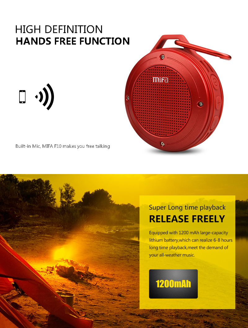 Outdoor Wireless Bluetooth 4.0 Stereo Portable Speaker Built-in Mic ...