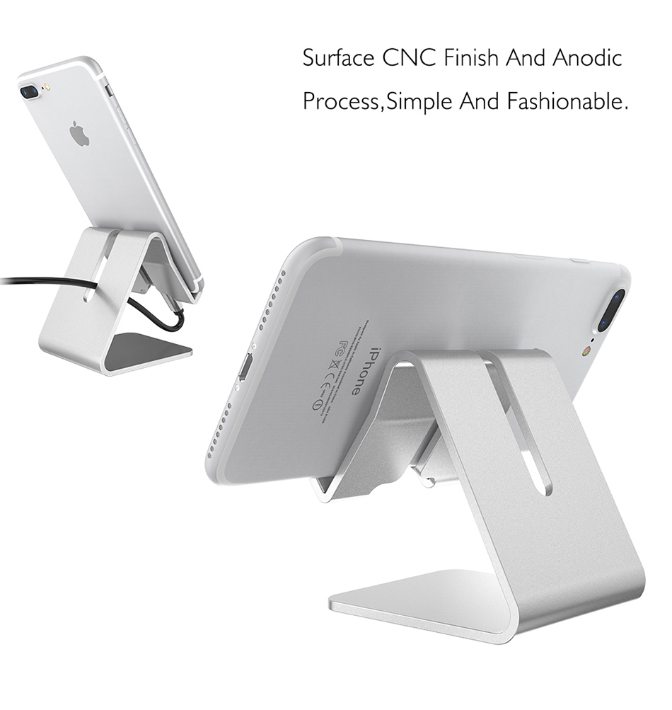 Aluminum Metal Phone Holder Desktop Universal Non Slip Mobile Stand Desk Hold