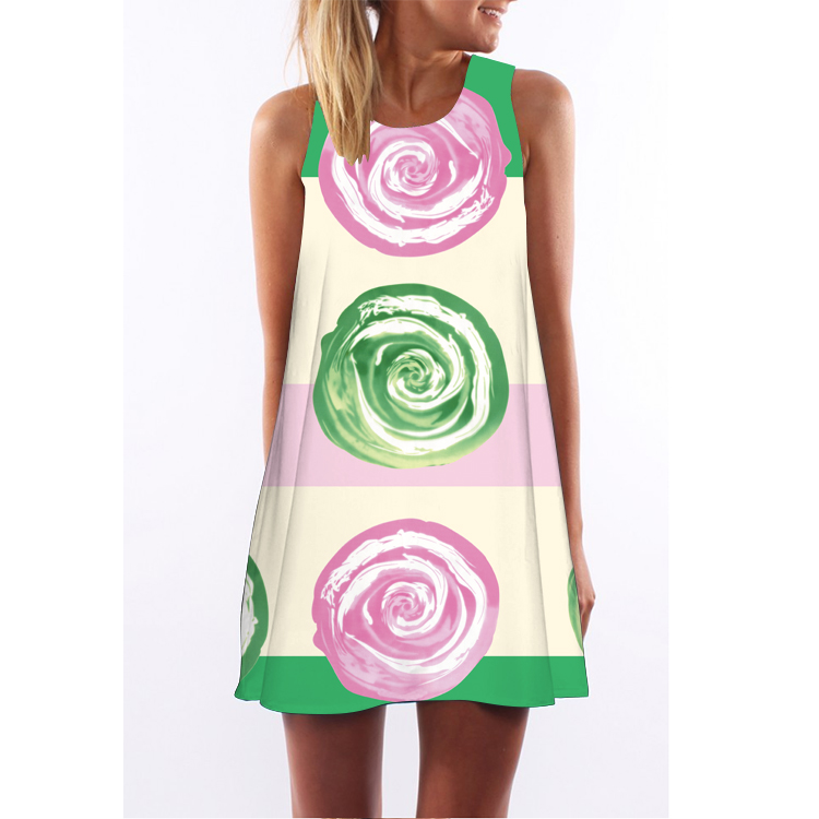 3af8cc2837bb 2018 Summer Dress Women Floral Print Chiffon Dress Sleeveless Boho Style  Short Beach Dress Sundress Casual ...