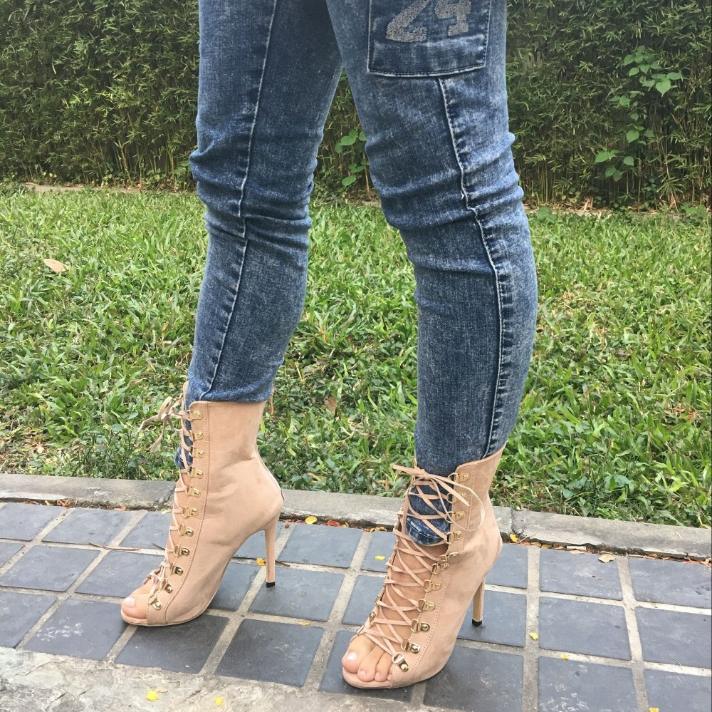 e3f5db79c3889 Gladiator High Heels Women Pumps Genova Stiletto Sandal Booties Pointed Toe  Strappy Lace Up Pumps Shoes Woman