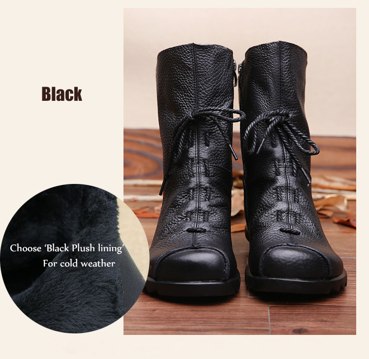 2019 Vintage Style Genuine Leather Women Boots Flat Booties Soft Cowhide  Women\u0027s Shoes